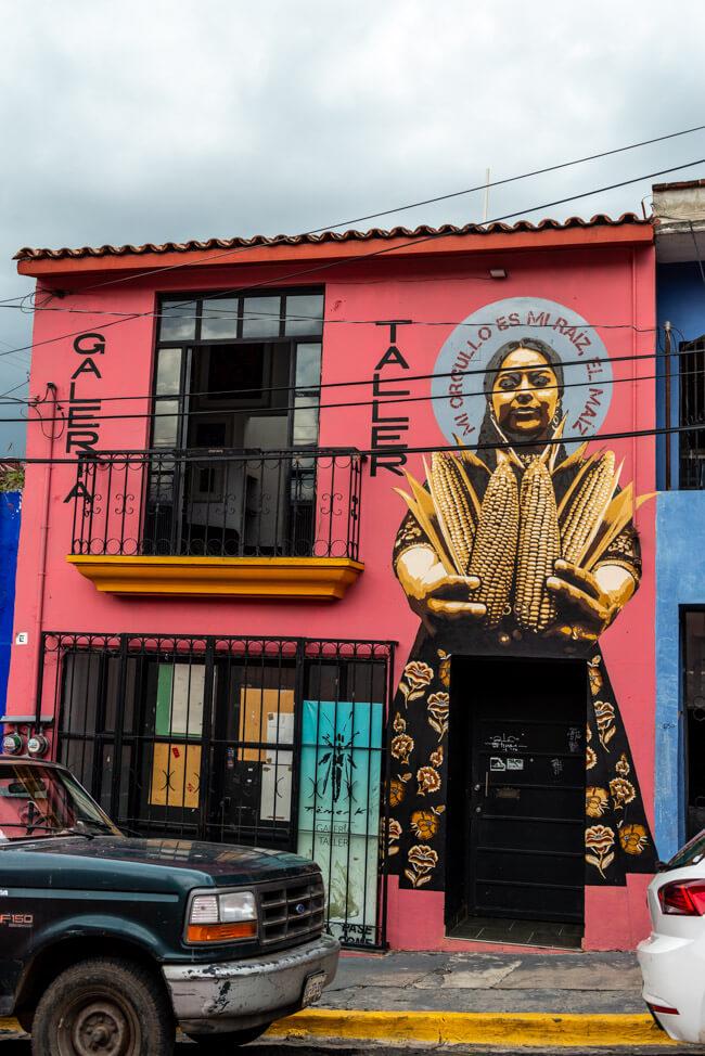 Oaxaca de Juaréz Mexiko Streetart Hausbemalung Mais