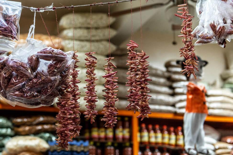 Oaxaca de Juaréz Mexiko Mercado de la Merced getrocknete Würmer
