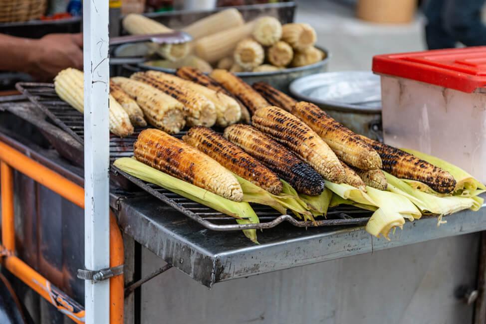 Oaxaca de Juaréz Mexiko Parade zum Dia de los Muertos Tag der Toten Umzug Streetfood Maiskolben