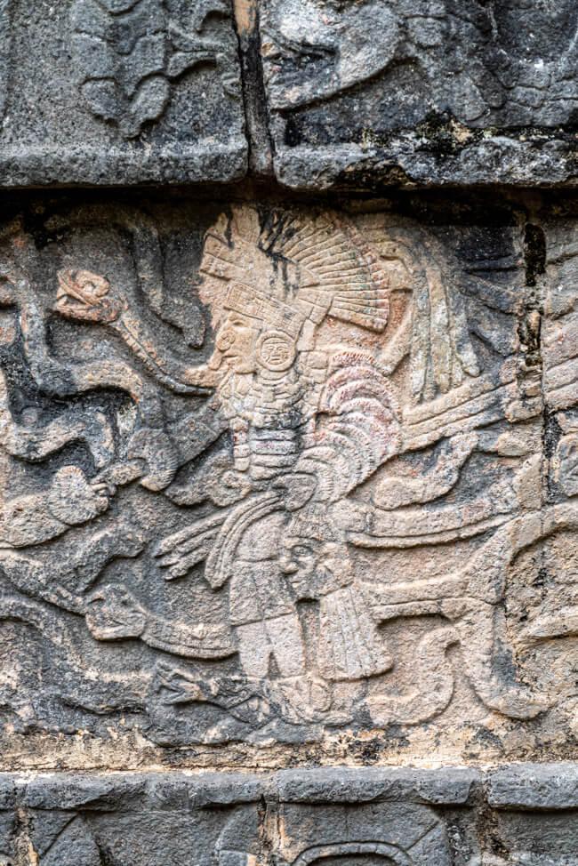 Chichén Itzá Maya Pyramide Wahrzeichen Steinrelief