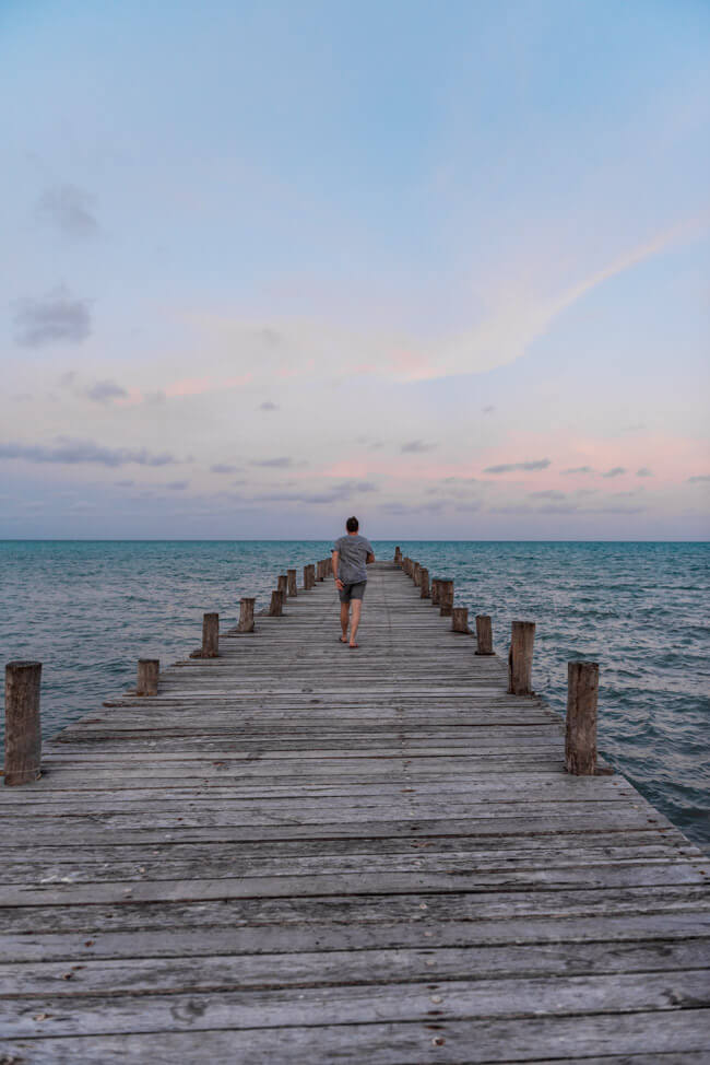 Punta Allen Sian Ka´an Nationalpark Meer Strand Traumstrand Palmen Steg