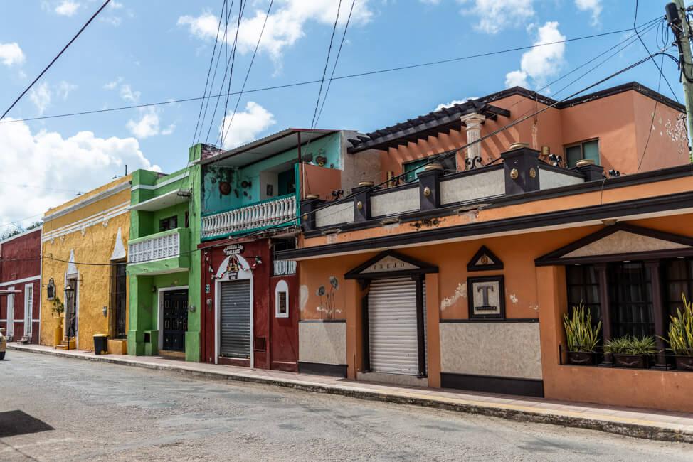 Valladolid Stadt Häuser bunt