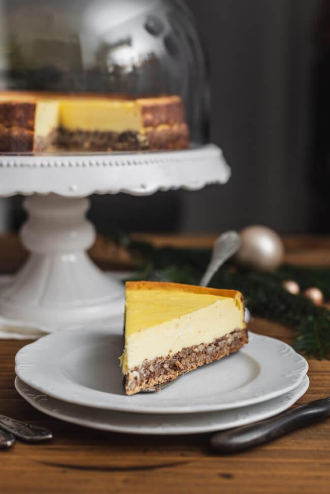 Eierlikör Käsekuchen mit Zimtstern-Boden glutenfrei Cheesecake perfekte Oberfläche Tipps Tricks einfach backen Weihnachten Adventszeit Sonntagskuchen
