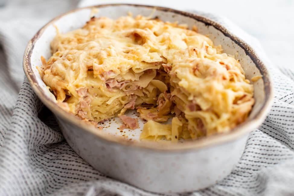Schinken-Nudelauflauf mit Quark Käse Nudelauflauf Nudeln Pasta Bandnudeln Auflauf Schinkennudeln